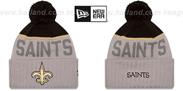 Saints 2015 STADIUM Grey-Black Knit Beanie Hat by New Era