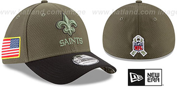 Saints '2017 SALUTE-TO-SERVICE FLEX' Green-Black Hat by New Era