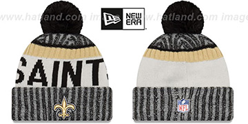 Saints '2017 STADIUM BEANIE' Black Knit Hat by New Era