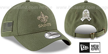 Saints '2018 SALUTE-TO-SERVICE STRAPBACK' Olive Hat by New Era