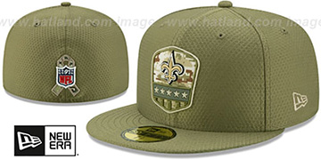 Saints 2019 SALUTE-TO-SERVICE Olive Fitted Hat by New Era