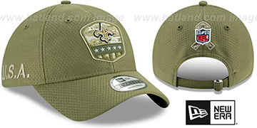 Saints 2019 SALUTE-TO-SERVICE STRAPBACK Olive Hat by New Era