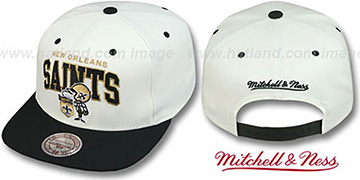 Saints '2T TEAM ARCH SNAPBACK' White-Black Hat by Mitchell & Ness