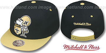 Saints '2T XL-LOGO SNAPBACK 2' Black-Gold Adjustable Hat by Mitchell and Ness