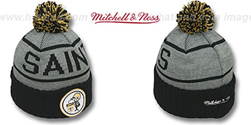 Saints 'HIGH-5 CIRCLE BEANIE' Grey-Black by Mitchell and Ness