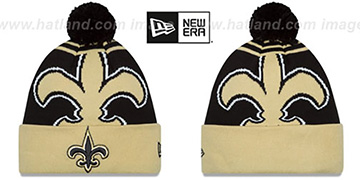 Saints 'LOGO WHIZ' Black-Gold Knit Beanie Hat by New Era
