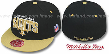 Saints 'NFL 2T ARCH TEAM-LOGO' Black-Gold Fitted Hat by Mitchell & Ness