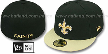 Saints 'NFL 2T-TEAM-BASIC' Black-Gold Fitted Hat by New Era