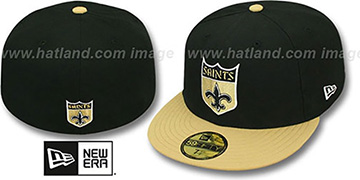 Saints NFL 2T THROWBACK TEAM-BASIC Black-Gold Fitted Hat by New Era