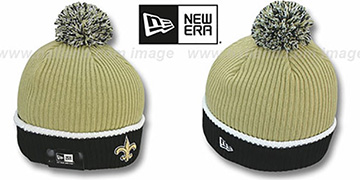 Saints 'NFL FIRESIDE' Gold-Black Knit Beanie Hat by New Era