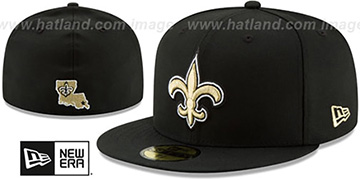 Saints NFL TEAM-BASIC Black Fitted Hat by New Era