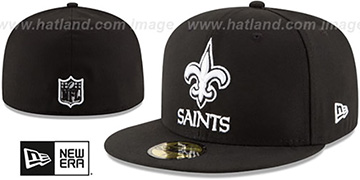 Saints NFL TEAM-BASIC Black-White Fitted Hat by New Era