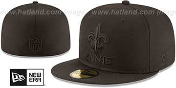 Saints NFL TEAM-BASIC BLACKOUT Fitted Hat by New Era