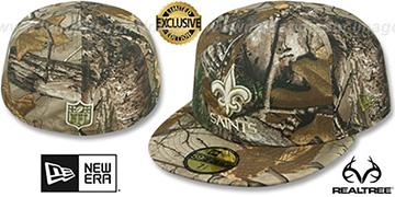 Saints NFL TEAM-BASIC Realtree Camo Fitted Hat by New Era