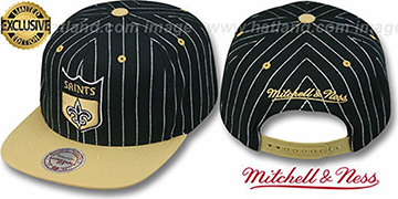 Saints 'PINSTRIPE 2T TEAM-BASIC SNAPBACK' Black-Gold Adjustable Hat by Mitchell & Ness