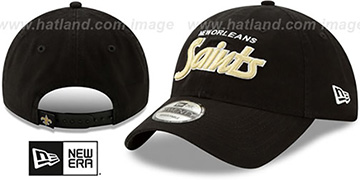 Saints RETRO-SCRIPT SNAPBACK Black Hat by New Era