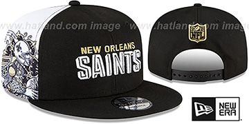Saints SIDE-CARD SNAPBACK Black Hat by New Era