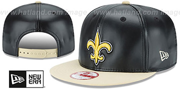 Saints SMOOTHLY STATED SNAPBACK Black-Gold Hat by New Era