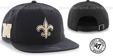 Saints SUPER-SHOT STRAPBACK Black Hat by Twins 47 Brand
