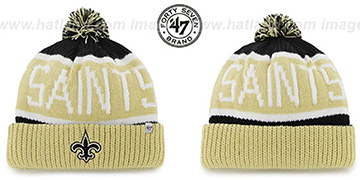 Saints THE-CALGARY Gold-Black Knit Beanie Hat by Twins 47 Brand