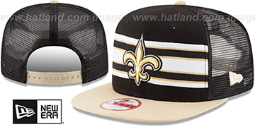 Saints 'THROWBACK-STRIPE SNAPBACK' Black-Gold Hat by New Era