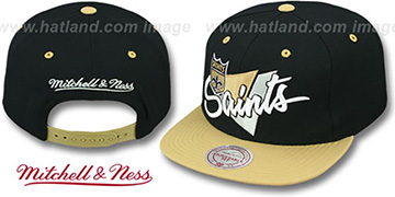 Saints TRIANGLE-SCRIPT SNAPBACK Black-Gold Hat by Mitchell and Ness