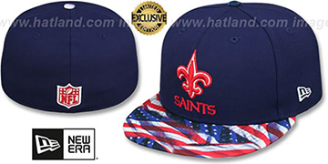 Saints 'USA WAVING-FLAG' Navy Fitted Hat by New Era