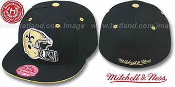 Saints 'XL-HELMET' Black Fitted Hat by Mitchell & Ness