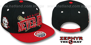 San Cristobal LACROSSE SUPER-ARCH SNAPBACK Black-Red Hat by Zephyr