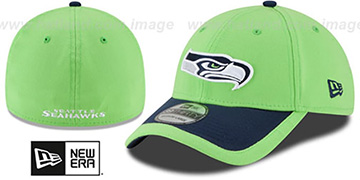 Seahawks 2015 NFL STADIUM FLEX Lime-Navy Hat by New Era