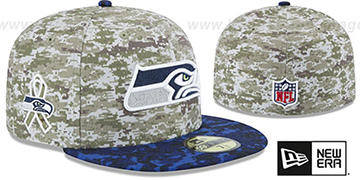 Seahawks '2015 SALUTE-TO-SERVICE' Desert-Navy Fitted Hat by New Era