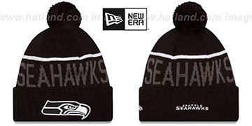 Seahawks 2015 STADIUM Black-White Knit Beanie Hat by New Era