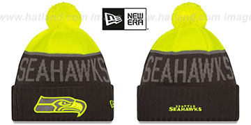Seahawks 2015 STADIUM Charcoal-Yellow Knit Beanie Hat by New Era