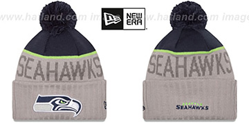 Seahawks 2015 STADIUM Grey-Navy Knit Beanie Hat by New Era