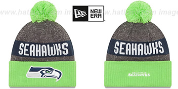 Seahawks '2016 STADIUM' Lime-Navy-Grey Knit Beanie Hat by New Era