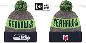 Seahawks '2016 STADIUM' Navy-Lime-Grey Knit Beanie Hat by New Era