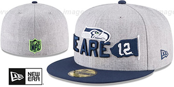 Seahawks 2018 ONSTAGE Grey-Navy Fitted Hat by New Era