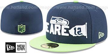 Seahawks 2018 SPOTLIGHT Navy-Lime Fitted Hat by New Era
