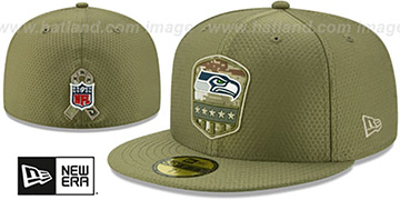 Seahawks 2019 SALUTE-TO-SERVICE Olive Fitted Hat by New Era