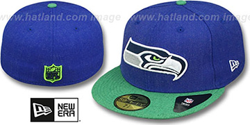 Seahawks 2T-HEATHER ACTION Royal-Green Fitted Hat by New Era