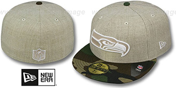 Seahawks 2T-HEATHER Oatmeal-Army Fitted Hat by New Era