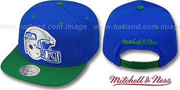 Seahawks 2T XL-HELMET SNAPBACK Royal-Green Adjustable Hat by Mitchell & Ness