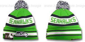 Seahawks ALT JAKE-3 Lime Knit Beanie Hat by New Era