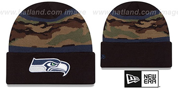 Seahawks ARMY CAMO FILLZ Knit Beanie Hat by New Era