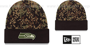 Seahawks ARMY CAMO PRINT-PLAY Knit Beanie Hat by New Era