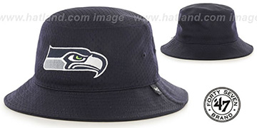 Seahawks BACKBOARD JERSEY BUCKET Navy Hat by Twins 47 Brand