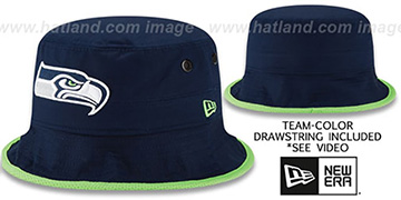 Seahawks BASIC-ACTION Navy Bucket Hat by New Era