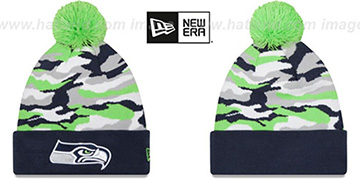Seahawks CAMO CAPTIVATE Knit Beanie Hat by New Era