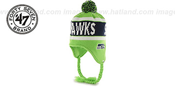 Seahawks CRANBROOK Lime Knit Beanie Hat by Twins 47 Brand