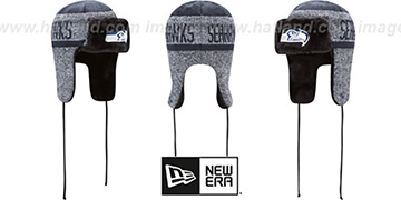 Seahawks 'FROSTWORK TRAPPER' Navy Knit Hat by New Era